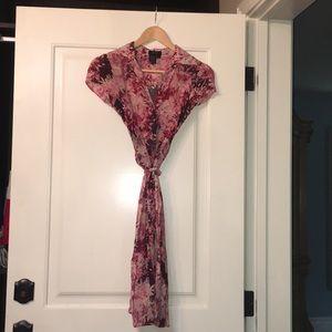 BCBG Button Down Dress Tie Waist